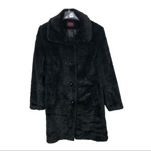 GALLERY Faux Fur Black Cozy Coat - Size L